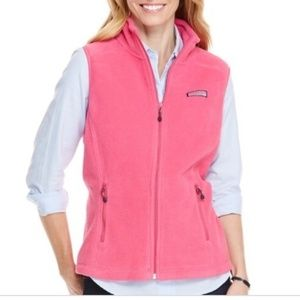 Pink Vineyard Vines Fleece Vest Size Small